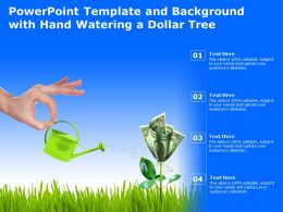 Powerpoint Template And Background With Hand Watering A Dollar Tree