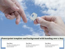 Powerpoint Template And Background With Handing Over A Key