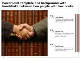 Powerpoint Template And Background With Handshake Between Two People With Law Books