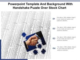Powerpoint Template And Background With Handshake Puzzle Over Stock Chart