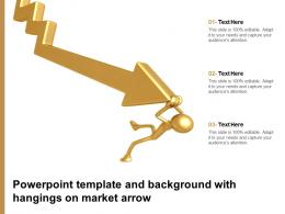 Powerpoint Template And Background With Hangings On Market Arrow