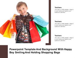 Powerpoint Template And Background With Happy Boy Smiling And Holding Shopping Bags