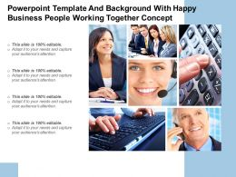 Powerpoint Template And Background With Happy Business People Working Together Concept
