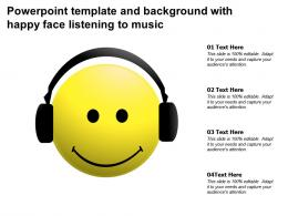 Powerpoint Template And Background With Happy Face Listening To Music