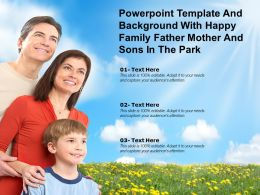 Powerpoint Template And Background With Happy Family Father Mother And Sons In The Park