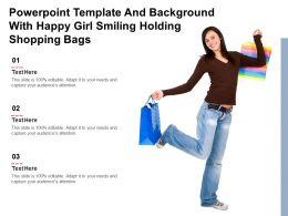 Powerpoint Template And Background With Happy Girl Smiling Holding Shopping Bags