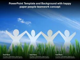 Powerpoint Template And Background With Happy Paper People Teamwork Concept