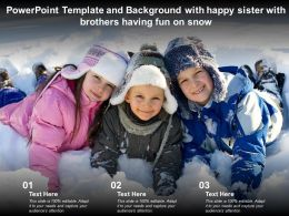 Powerpoint Template And Background With Happy Sister With Brothers Having Fun On Snow