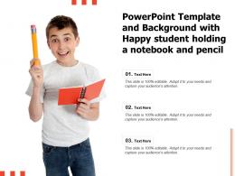 Powerpoint Template And Background With Happy Student Holding A Notebook And Pencil