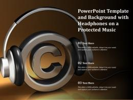 Powerpoint Template And Background With Headphones On A Protected Music