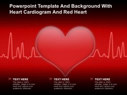 Powerpoint Template And Background With Heart Cardiogram And Red Heart