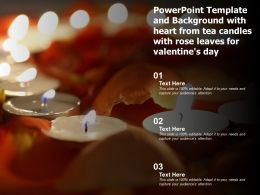Powerpoint Template And Background With Heart From Tea Candles With Rose Leaves For Valentines Day