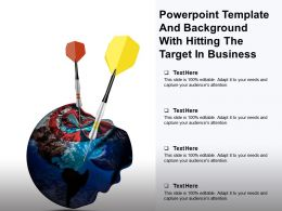 Powerpoint Template And Background With Hitting The Target In Business