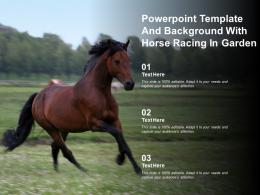 Powerpoint Template And Background With Horse Racing In Garden