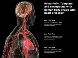Powerpoint Template And Background With Human Body Shape With Heart And Brain