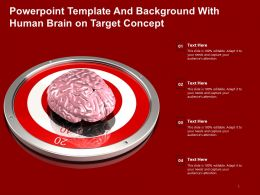 Powerpoint Template And Background With Human Brain On Target Concept
