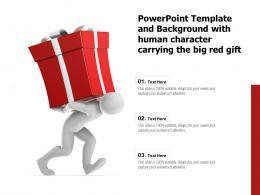 Powerpoint Template And Background With Human Character Carrying The Big Red Gift