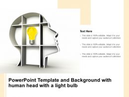 Powerpoint Template And Background With Human Head With A Light Bulb