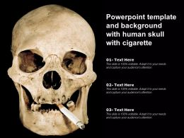 Powerpoint Template And Background With Human Skull With Cigarette