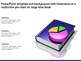 Powerpoint Template And Background With Illustration Of A Multicolor Pie Chart On Large Blue Book