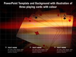 Powerpoint Template And Background With Illustration Of Three Playing Cards With Colour