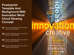 Powerpoint Template And Background With Innovation Word Cloud Glowing Concept