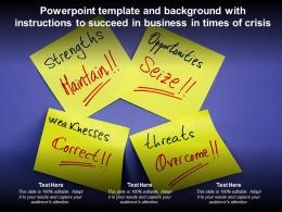 Powerpoint Template And Background With Instructions To Succeed In Business In Times Of Crisis