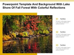 Powerpoint Template And Background With Lake Shore Of Fall Forest With Colorful Reflections