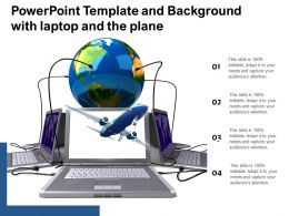 Powerpoint Template And Background With Laptop And The Plane