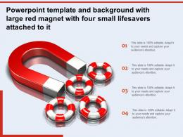 Powerpoint Template And Background With Large Red Magnet With Four Small Lifesavers Attached To It
