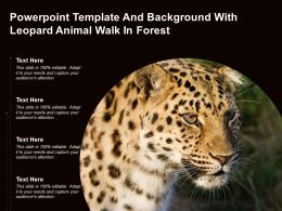 Powerpoint Template And Background With Leopard Animal Walk In Forest