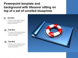 Powerpoint Template And Background With Lifesaver Sitting On Top Of A Set Of Unrolled Blueprints