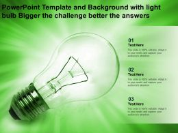Powerpoint Template And Background With Light Bulb Bigger The Challenge Better The Answers