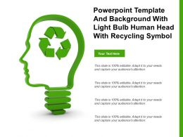 Powerpoint Template And Background With Light Bulb Human Head With Recycling Symbol
