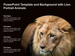 Powerpoint Template And Background With Lion Portrait Animals