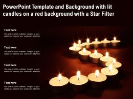 Powerpoint Template And Background With Lit Candles On A Red Background With A Star Filter