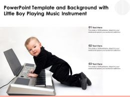 Powerpoint Template And Background With Little Boy Playing Music Instrument