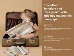 Powerpoint Template And Background With Little Boy Reading The Newspaper