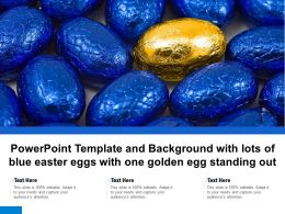 Powerpoint Template And Background With Lots Of Blue Easter Eggs With One Golden Egg Standing Out