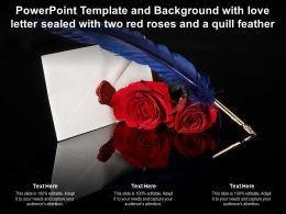 Powerpoint Template And Background With Love Letter Sealed With Two Red Roses And A Quill Feather