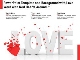 Powerpoint Template And Background With Love Word With Red Hearts Around It