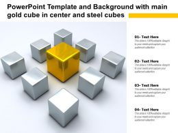 Powerpoint Template And Background With Main Gold Cube In Center And Steel Cubes