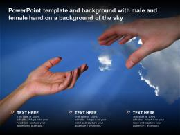 Powerpoint Template And Background With Male And Female Hand On A Background Of The Sky