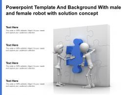 Powerpoint Template And Background With Male And Female Robot With Solution Concept