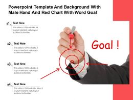 Powerpoint Template And Background With Male Hand And Red Chart With Word Goal