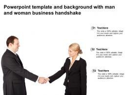 Powerpoint Template And Background With Man And Woman Business Handshake