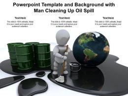 Powerpoint Template And Background With Man Cleaning Up Oil Spill
