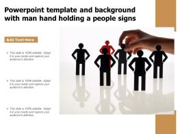 Powerpoint Template And Background With Man Hand Holding A People Signs