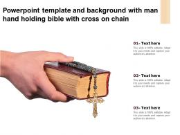 Powerpoint Template And Background With Man Hand Holding Bible With Cross On Chain