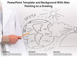 Powerpoint Template And Background With Man Pointing To A Drawing
